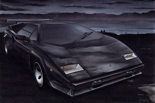 Airbrush illustration of a Lamborghini Countach by artist Huldrick.