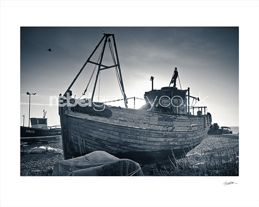 "Photograph of Hastings Trawler Flying Fish on a frosty morning by Hastings Photographer Jon ""Huldrick' Wilhelm."