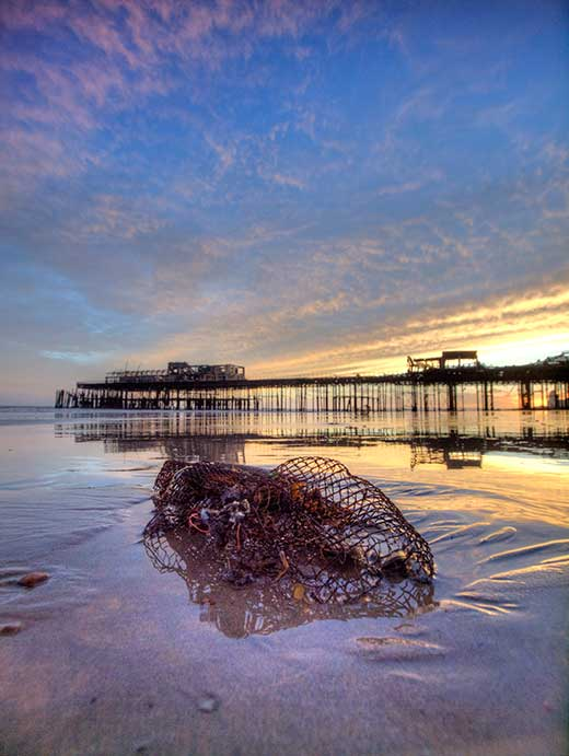 "Photograph of Hastings Pier after the fire in 2010 by Hastings Photographer Jon ""Huldrick' Wilhelm."