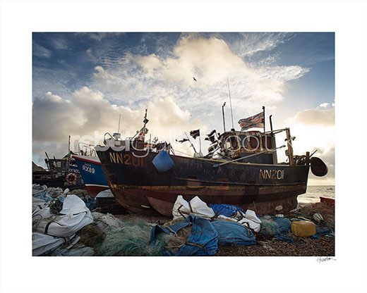Photograph of Hastings Trawler at sunrise by Hastings photographer Jon Wilhelm.