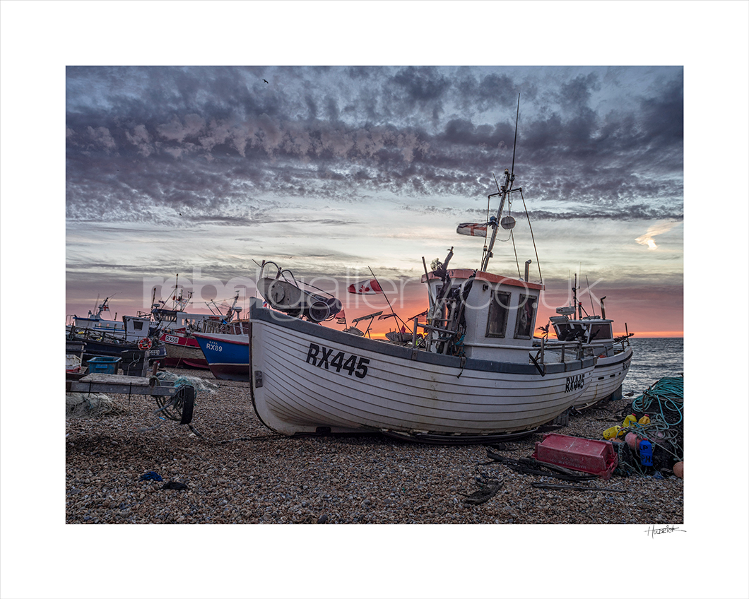 Photograph of Hastings Stade at sunrise by Jon Wilhelm.
