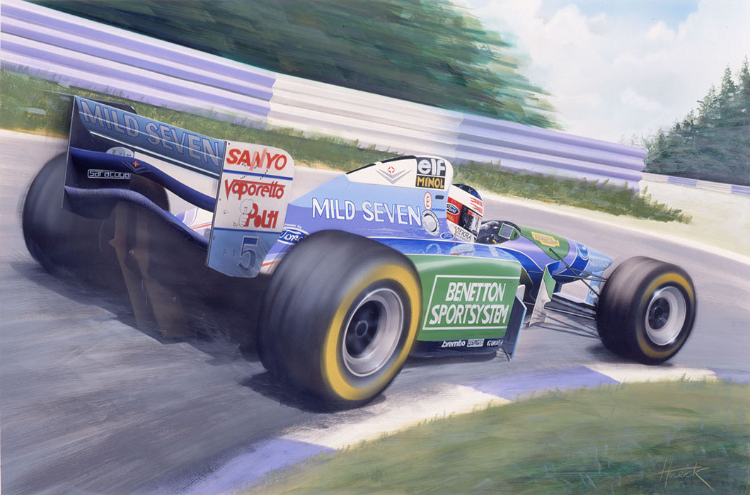 Michael Schumacher, Benetton B194 original airbrush painting by Huldrick.